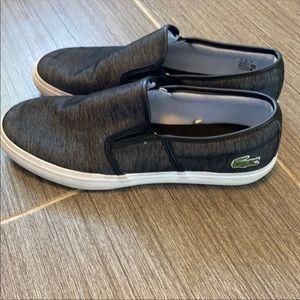 Lacoste Gray Tatalya Gray Slip On Shoes EUC 9